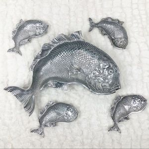 Vintage metal fish platter and small trays